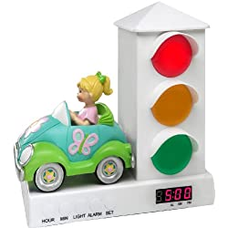 Stoplight Sleep Enhancing Alarm Clock for Kids, Groovy Car with Butterflies