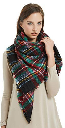VIVIAN & VINCENT Women's Plaid Blanket Winter Scarf Oversized Shawl Cape Christmas Red Green]()