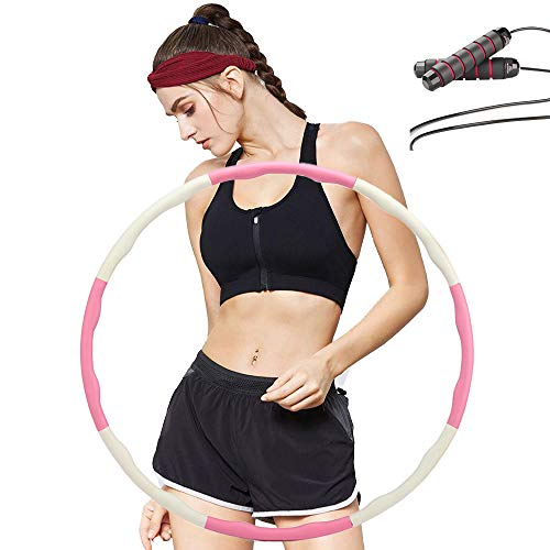 GIFTWARE WORLD Hula Hoop Adjustable 8 Detachable Sections for Kids, Teens, Adults, Weight Loss Fitness Hula Hoop, with Free Accessory Jump Rope (Pink and White)