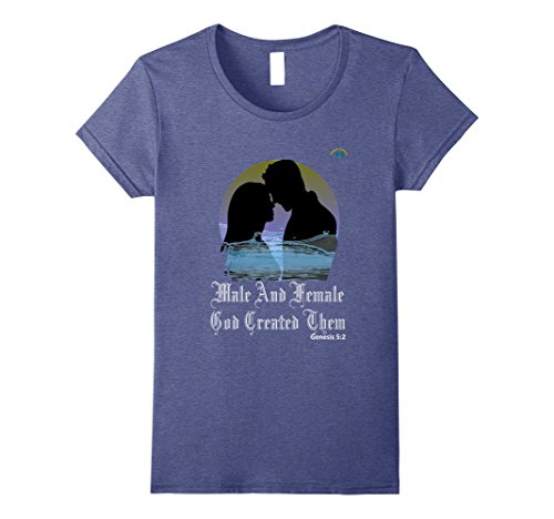 Womens Male and Female God Created Them - T-Shirt - Premium Quality Small Heather Blue