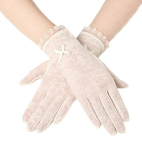 BABEYOND Floral Lace Gloves for Wedding Opera Party 1920s Flapper Lace Gloves Stretchy Adult Size (Beige-2) ()