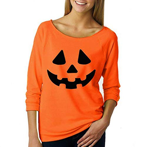 iYBUIA Cotton Women Halloween Pumpkin Print Long Sleeve Sweatshirt Pullover Tops Blouse -