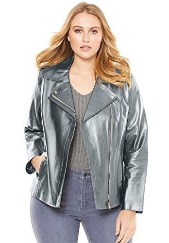 Roamans Women's Plus Size Leather Motorcycle Jacket Misty Rose,20 W by Roamans