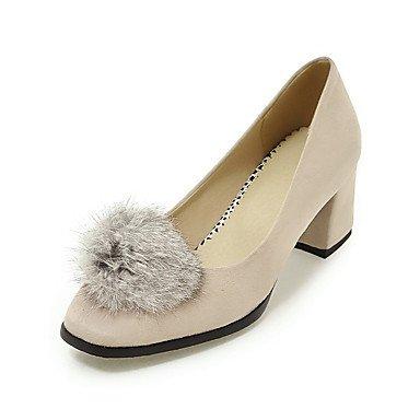 Talones de las mujeres Primavera Verano Otoño Zapatos de cuero del club boda oficina al aire libre y del partido Carrera y vestido de noche ocasional de tacón grueso Pom-pom Black