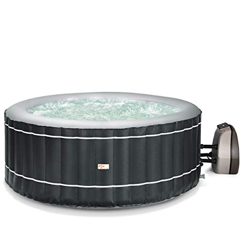 (Goplus 4-6 Person Inflatable Hot Tub Portable Outdoor Spa Bubble Jet Massage Spa w/Accessories Set (4-Person, Gray))