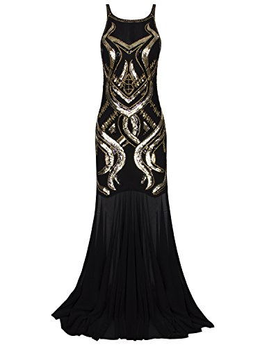 g Gatsby Beaded Sequin Art Deco Evening Gown Prom Dress (Beaded Stretch Prom Dress)