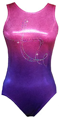 Look-It Activewear Sparkle Pink and Purple Ombre Leotard Gymnastics and Dance for girls and women