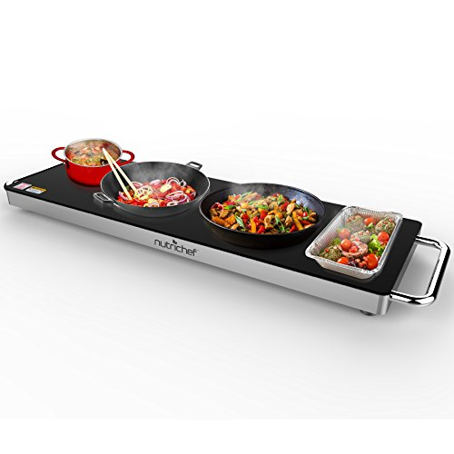 Portable Electric Food Hot Plate - Stainless Steel Warming Tray Dish Warmer w/ Black Glass Top - Keep Food Warm for Buffet Serving