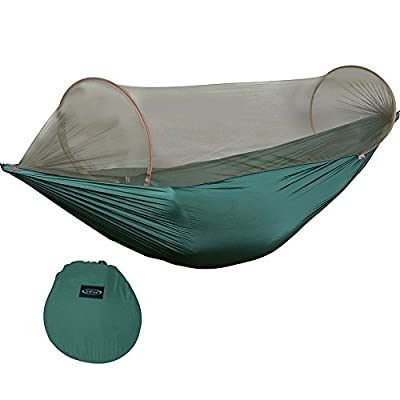 G4Free Portable Camping Hammock Mosquito Net Hammock Tent Capacity 400 Pounds Outdoor Foldable Tree Hammocks(110x50 inch)
