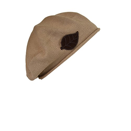 Brown Leaf Applique on Beret for Women 100% Cotton - Tan