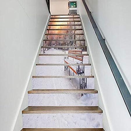 JHSM Etiqueta Engomada De La Escalera 13Pc 3D Pieza De Madera Cascada Piedra Blanca Libros Motivo