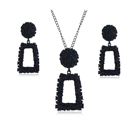 Statement Drop Earrings Large Metal Crystal Geometric Dangle Earrings Necklace Set Long Jewelry for Women Girls (Black)