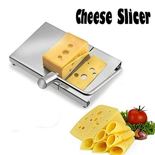 MChoice_Cheese Slicer Stainless Steel Wire Cutter with Serving Board for Hard and Semi Hard Cheese Butter