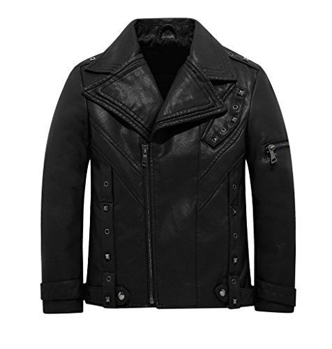 THE TWINS DREAM Boys Faux Leather Jacket Children's Motorcycle Coat Kids Leather Jacket For Girls With Studs 3-12y