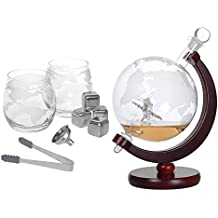 Whiskey Decanter Set 1500ml Liquor Decanter World Etched Globe Decanter with Crafted Glass Airplane, House Warming Presents, Valentine's Day Gifts