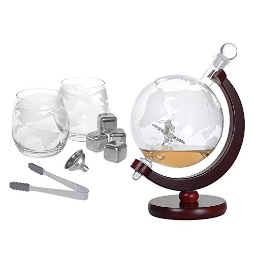 Whiskey Decanter Set 1500ml Liquor Decanter World Etched Globe Decanter with Crafted Glass Airplane, House Warming Presents, Valentine's Day Gifts (Liquor Glass)