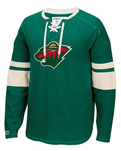 NHL New York Islanders Men's CCM Long Sleeve Jersey Crew Top, Large, Green (Islander Brass Antique)