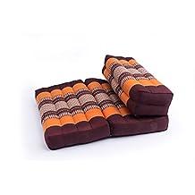 Foldable Meditation Cushion, 100% Kapok, Thai Design Orange & Brown