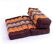 GABUR Foldable Meditation Cushion, 100% Kapok, Thai Design Orange & Brown, 25.5&qu