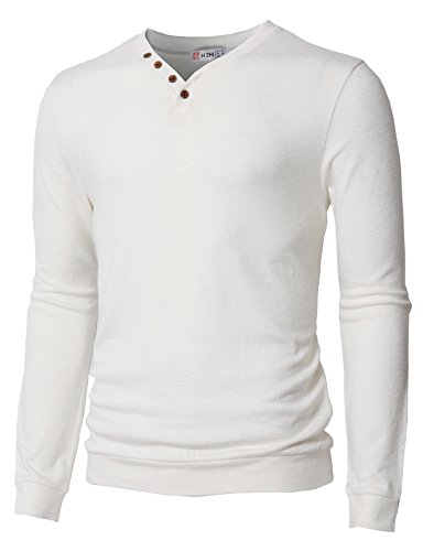 H2H Mens Color Block Stitch Button Crew Neck Long Sleeve Henley T-Shirts White US XL/Asia 2XL - Stitch Off White