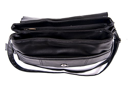 32cm Depth Lorenz black real 23cm Width nappa 1979 bag 10cm Height leather shoulder sheep ZzSqvxZ