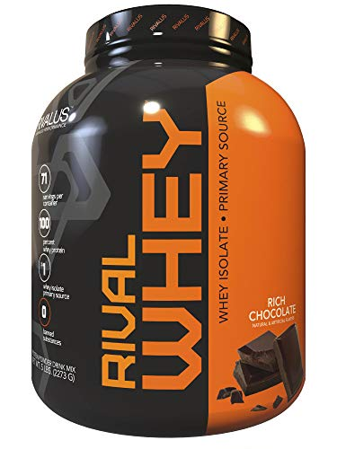 Rivalus Rivalwhey Rich Chocolate 5lb – 100 Whey Protein, Whey Protein Isolate Primary Source, Clean Nutritional Profile, BCAAs, No Banned Substances, Made in USA