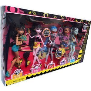 Monster High Gloom Beach Doll 5Pack Cleo de Nile, Draculaura, Clawdeen Wolf, Frankie Stein Exclusive Ghoulia (Monster High Ghoulia)