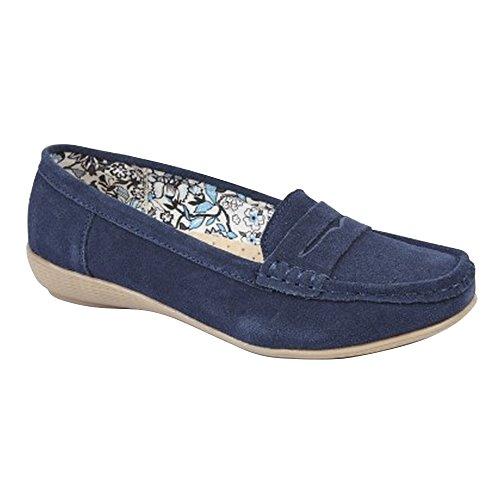 Boulevard - Zapatos casuales mocasines de ante para mujer Azul marino
