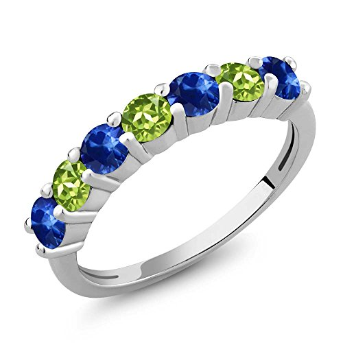 Gem Stone King 1.50 Ct Round Blue Sapphire Green Peridot 925 Sterling Silver Anniversary Ring (Size 6) ()
