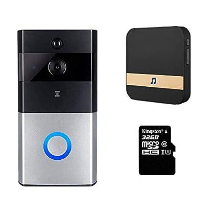 FABBD Timbre Video WiFi, Inteligente Timbres para Puerta Contiene Hd720p Cámara De Seguridad HD,