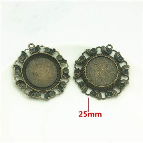 Laliva Accessories - 3pcs/lot Filigree Shells Charm Flat Cabocho Set Alloy Base 4549mm(Fit 25mm Dia) Cameo Blank Zinc Jewelry DIY AXDT067 - (Color: Antique Bronze, Size: 25mm)