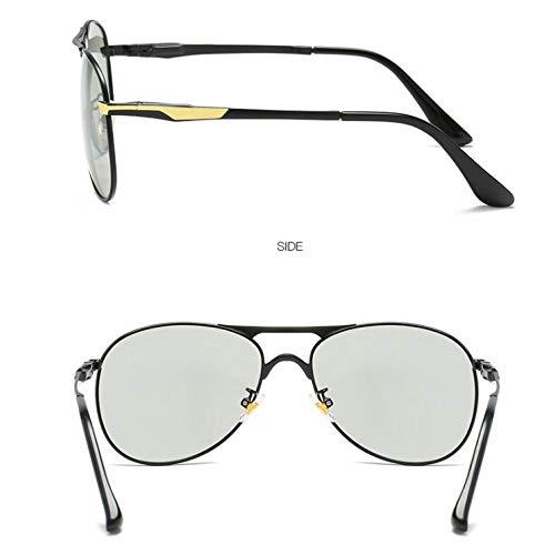 de al Que Conductor Gafas Sol Color conducción cambian Película Aire del de de Burenqiq Color Sol Gafas Negocios Sol de de de Libre de gold color film cambian Black frame Espejo Negro Marco Gafas del Que de de Hombre Oro Color taqF8