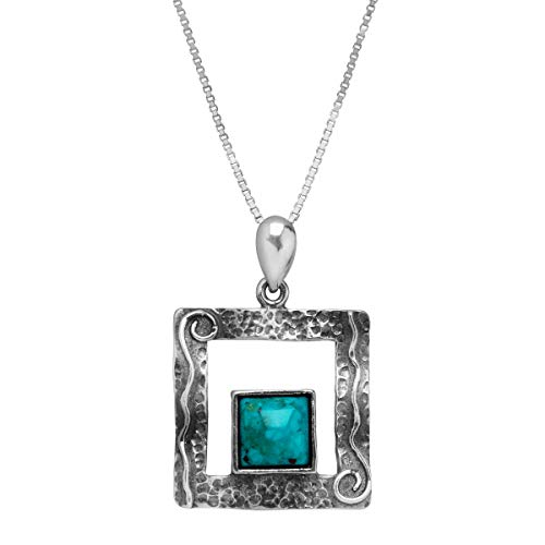 Silpada 'Alamosa' Compressed Turquoise Open Square Pendant Necklace in Sterling Silver, 17.5