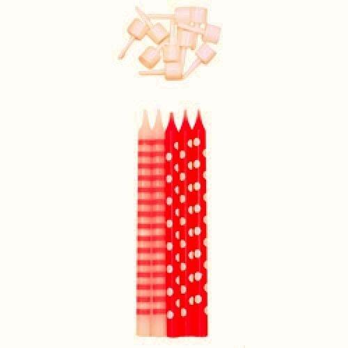 10 CANDELINE compleanno ROSSE decorate POIS e RIGHE per TORTA festa BAMBINA Givi Italia srl 51177