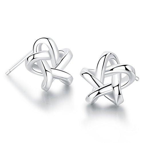 (18K White Gold Plated Sterling Silver Stud Earrings For Women Fine Jewelry Weave Star Earring)