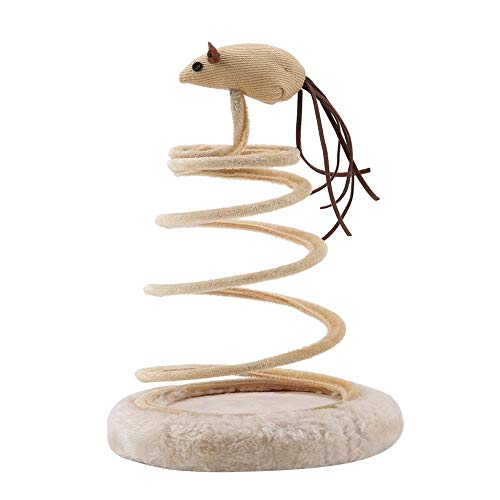 HEEPDD Cat Spiral Sucker Mouse Spring Toy Funny Cat Teaser Catcher Interactive Toy Kitten Scratcher Cat Supplies for Small Animals Pets Playing Jumping Catching