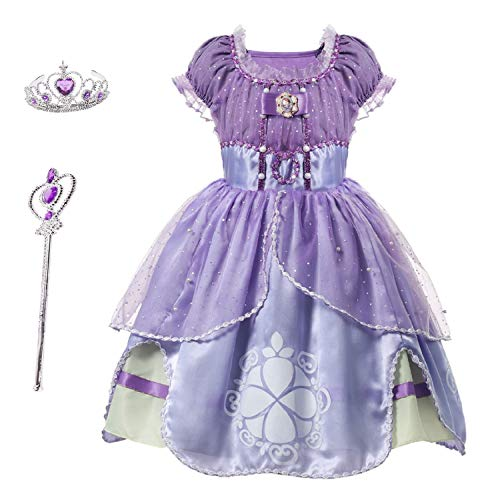 Familycrazy Princes Sofia Costume Dress with Tiara, Wand for Birthdays, Halloween, Parties,Children's Day Pink-Purple