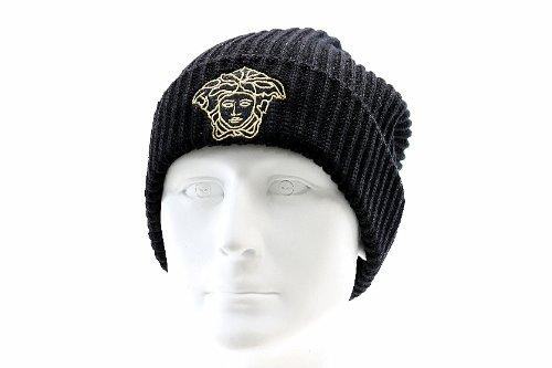 ce5ee076512 Versace Men s 100% Wool Black Embroidered Medusa Logo Beanie Hat   Amazon.co.uk  Clothing