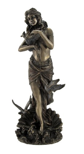 - Veronese Bronzed Aphrodite with Doves on Scallop Shell Statue