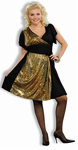 Womens 70s Foxy Disco Party Girl Costume Dress X-Large 18-22 (70s Disco Gold Adult Costume)