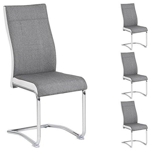 IDIMEX Lot de 4 chaises de Salle à Manger Alba piètement chromé revêtement Tissu Gris et Blanc