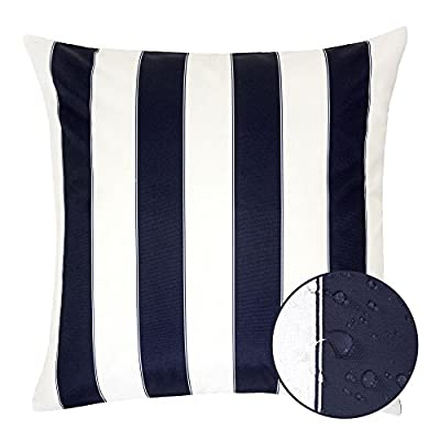 Homey Cozy Outdoor Throw Pillow Cover, Classic Stripe Navy Blue Large Pillow Sham Water/UV Fade/Stain-Resistance for Patio Lawn Couch Sofa Lounge 20x20, Cover Only - Classic Stripe Outdoor Pillow | Crafted from polyester and showcasing a classic stripe motif, Add it to the living room seating group to complement a contemporary ensemble or use it to accent your favorite patio sofa in eye-catching style. Weather Resistant | Add some color to your patio set with these water resistant outdoor pillows. Made out of 100% Solarium Polyester fabric, it is mold and mildew resistant as well as fade and stain resistant. Skin Friendly | Even with the protective coating, the outdoor pillow covers still feel nice and soft to make for incredibly cozy lounging out on the patio or indoors. - patio, outdoor-throw-pillows, outdoor-decor - 41GOnH85doL. SS400  -