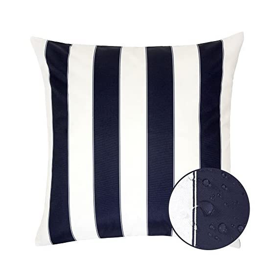 Homey Cozy Outdoor Throw Pillow Cover, Classic Stripe Navy Blue Large Pillow Sham Water/UV Fade/Stain-Resistance for Patio Lawn Couch Sofa Lounge 20x20, Cover Only - Classic Stripe Outdoor Pillow | Crafted from polyester and showcasing a classic stripe motif, Add it to the living room seating group to complement a contemporary ensemble or use it to accent your favorite patio sofa in eye-catching style. Weather Resistant | Add some color to your patio set with these water resistant outdoor pillows. Made out of 100% Solarium Polyester fabric, it is mold and mildew resistant as well as fade and stain resistant. Skin Friendly | Even with the protective coating, the outdoor pillow covers still feel nice and soft to make for incredibly cozy lounging out on the patio or indoors. - patio, outdoor-throw-pillows, outdoor-decor - 41GOnH85doL. SS570  -