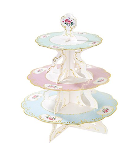 Disposable Cake Stands - Talking Tables Truly Chintz 3 Tier Reversible Cake Stand (H36 x W30cm)