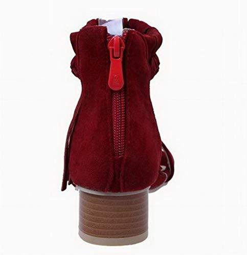 Sandales Zip Couleur à AgooLar GMBLB015324 Vineux Unie Talon Femme Rouge Bas 75qY710nx