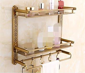 Daadi Cobre Antiguo baño estanterías Dobles con una Toalla de tocador Rod Percha de Madera Tallada, Gancho Doble 52CM.: Amazon.es: Hogar