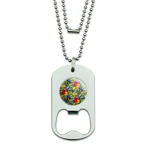 GRAPHICS & MORE Majestic Macaws Colorful Rainforest Pattern Military Dog Tag Bottle Opener Pendant ()