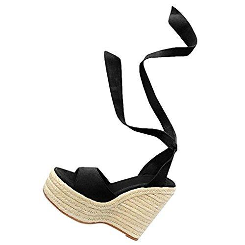 6 Noir en Mode Brown Ouvert pour Femme 8cm Caoutchouc Simili Sandales Loisirs Talons à Bout Hauteur Noir Rose Sandales Sandales Sandales Hauts Compensées Semelle Cuir 41HwXqxxO