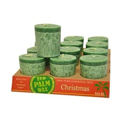 Aloha Bay Eco Palm Wax Candles Christmas Green Votive Candles 12 pack - 3PC