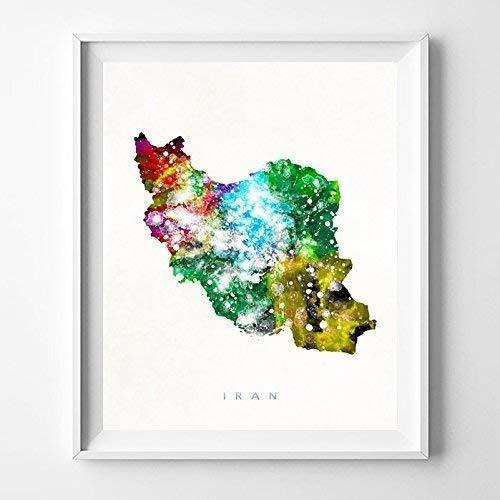 Amazon Com Iran Watercolor Map Print Wall Art Poster Home Decor